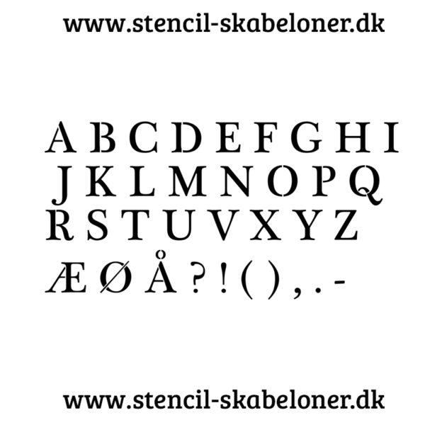 Almindelig skrift - alfabet stencil - store bogstaver