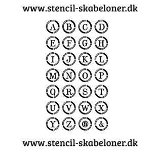 alfabet stencil bogstaver i cirkel