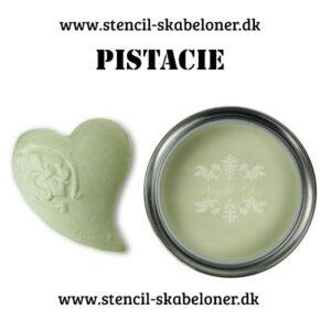 Pistacie er en, som navnet beskriver en lys pistacie grøn kalkmaling. Man får næsten lyst til at spise den.....og da malingen er økologisk haha