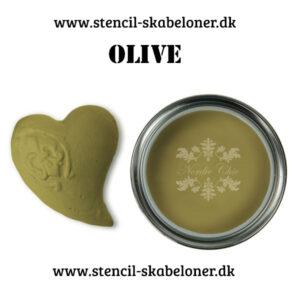 Oliven farvet kalkmaling - dækker stort set første gang. Høj kvalitet og en nem maling at arbejde med og i.